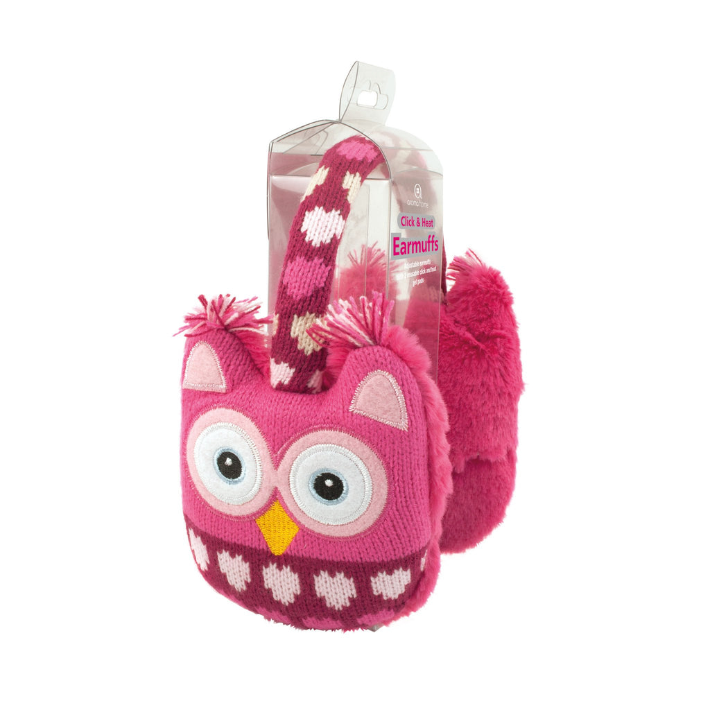 Knitted Pink Owl Range - Ear Muffs