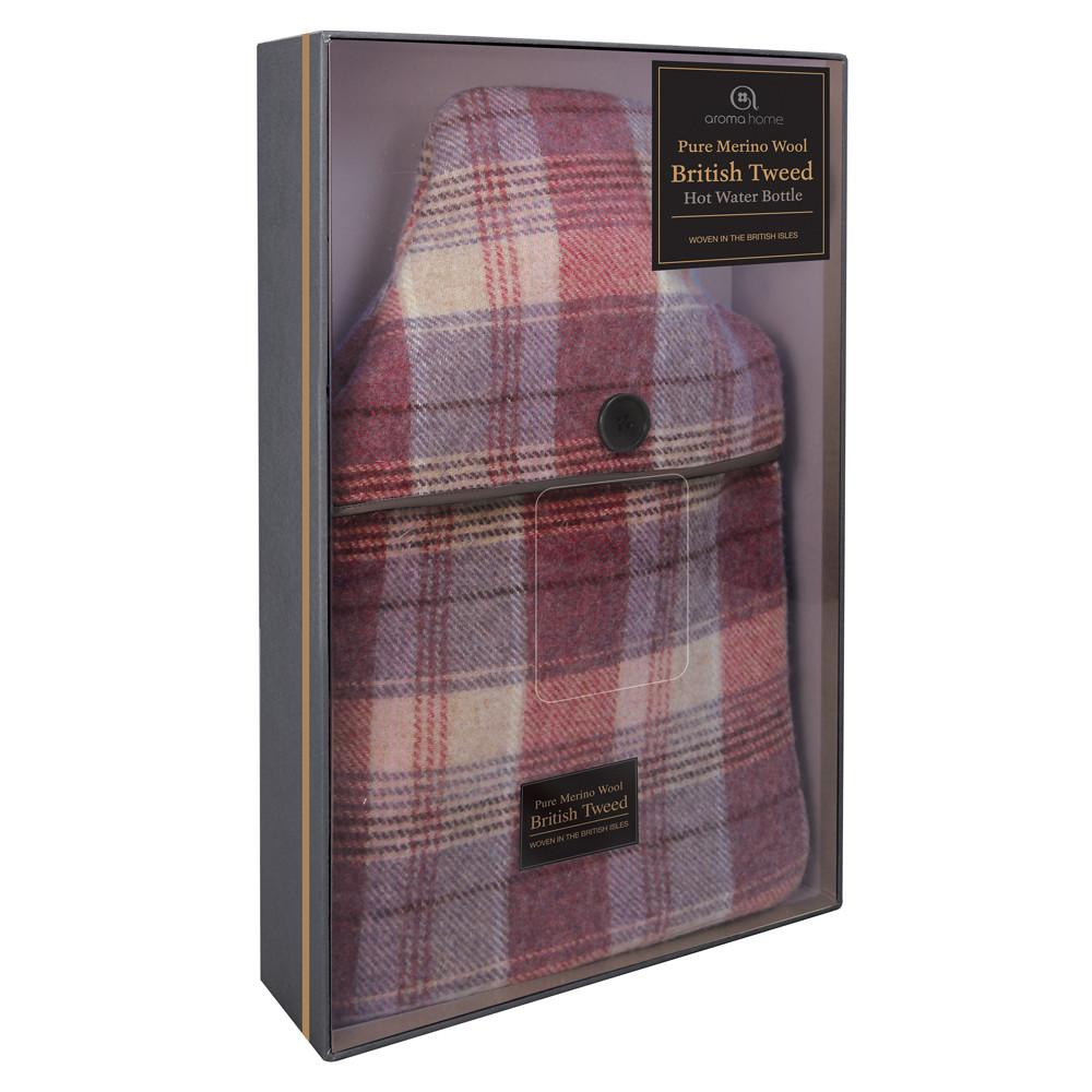Luxury Heather Plaid Tweed Merino Wool Hot Water Bottle