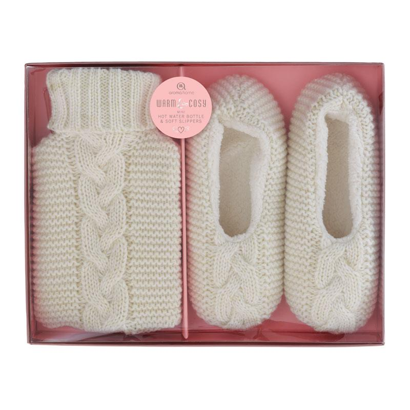 Knitted Cream Mini Hot Water Bottle and Slippers Gift Set