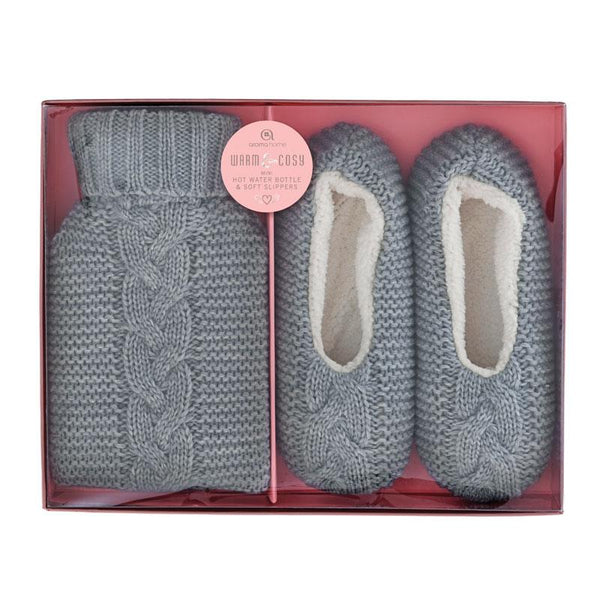 Mini Knitted Hot Water Bottle & Cosy Slippers Grey