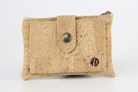 LIGHT BROWN CORK MINI WALLET WITH COIN POCKET