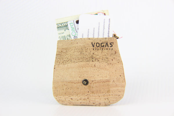 TRIANGULAR BROWN CORK COIN PURSE - CARD HOLDER