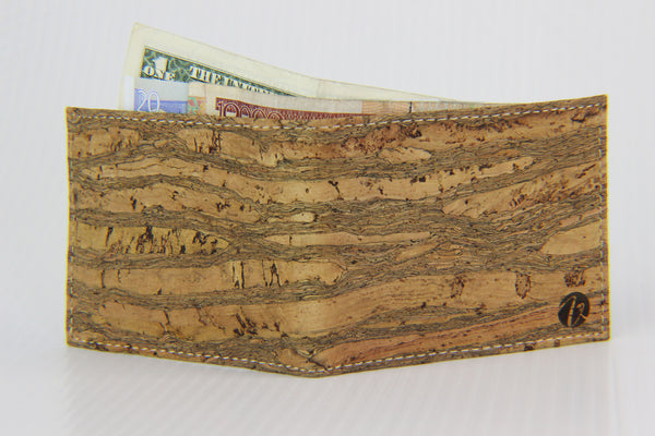STRIPPED LIGHT BROWN CORK BIFOLD WALLET