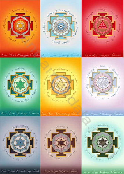 Navagraha (9 planet) Set of Fine Art Greeting Cards