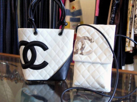chanel cambon black white python crossbody bag