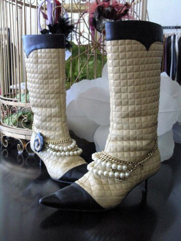chanel chain quilted leather boots
