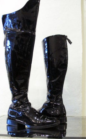 Chanel Black patent leather over-the-knee boots