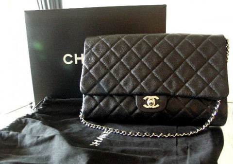 Chanel Flap black caviar leather, silver hardware. Brand new!