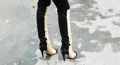 chanel black tan two tone over the knee boots june resale