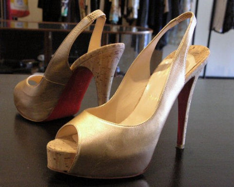 louboutin gold no prive peeptoe cork heels