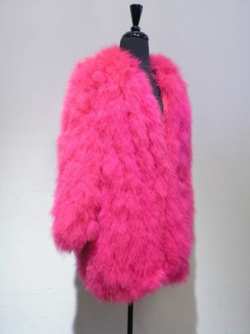 vintage ysl maribou coat pink feathers