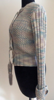 missoni Cashmere button down sweater with gorgeous silver grey mink tassels!