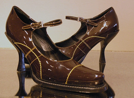 prada brown patent leather Mary Janes!