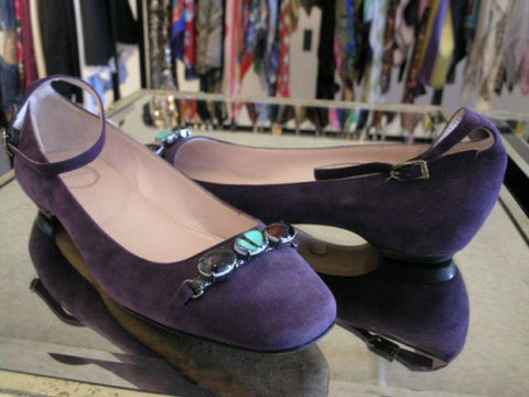pucci purple suede flats