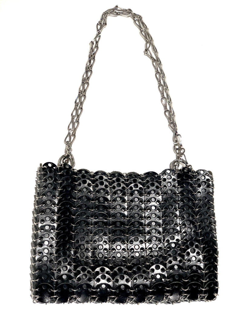 Paco Rabanne '1969' Black Leather and Silver Bag