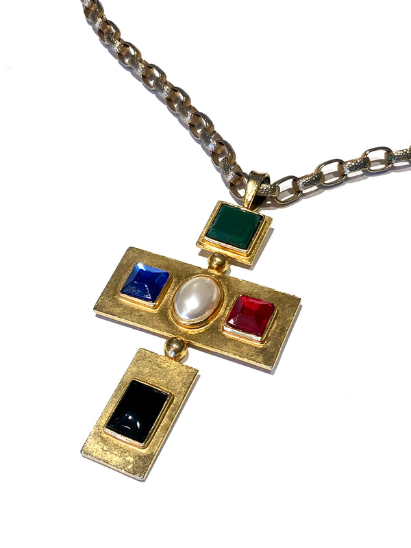 Yves Saint Laurent Roger Scemama 1960s Cross Necklace