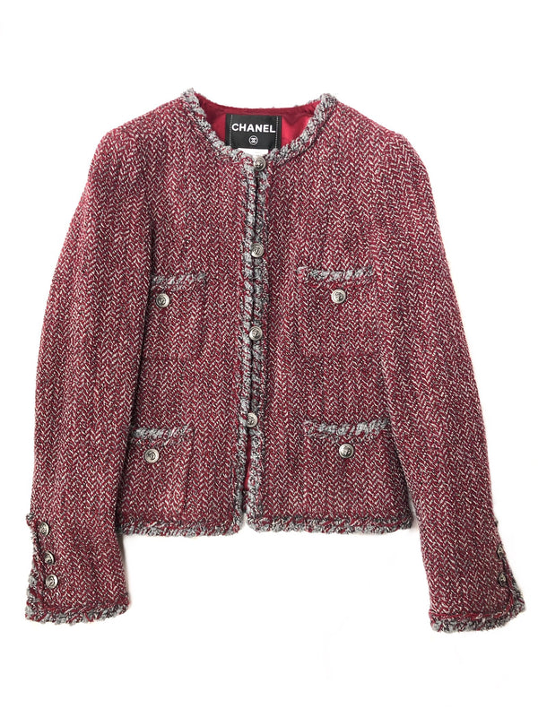 Chanel Cranberry Tweed Wool Blazer