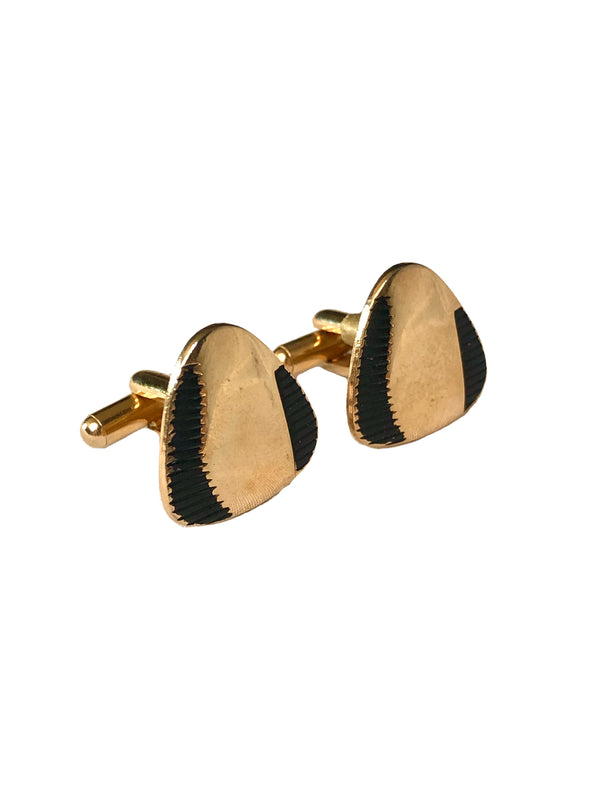 Vintage Goldtone Black Cufflinks
