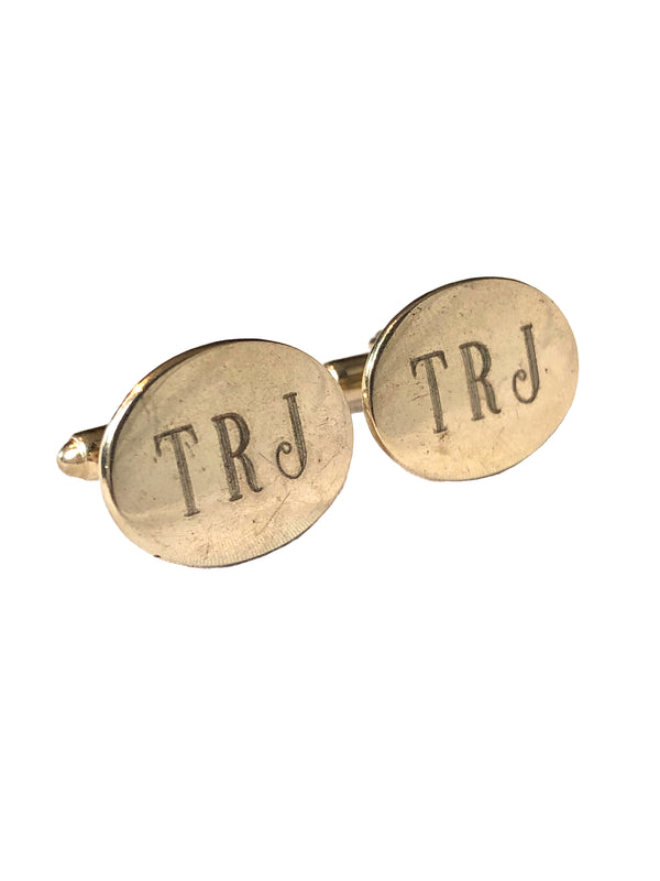 Vintage 'TRJ' Engraved Cufflinks