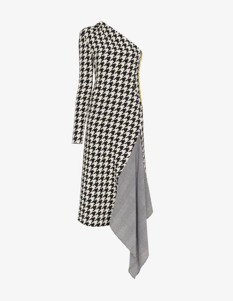 Off-White Houndstooth One-Shoulder Dress