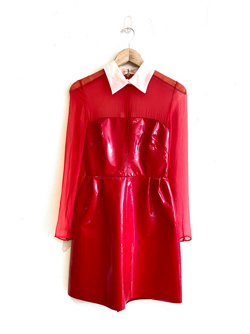 Valentino Lacca Red Patent Tulle Dress