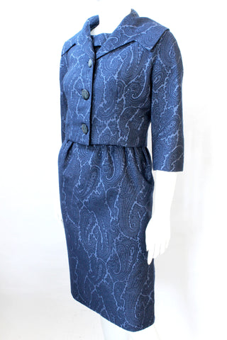Hattie Carnegie 1950s Navy Paisley Dress & Jacket Set, Vintage