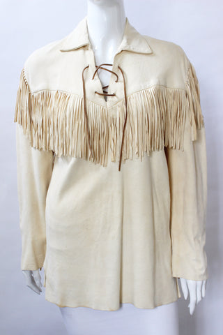Ralph Lauren Country Tan Buckskin Fringe Top