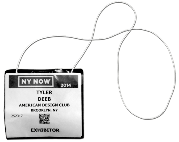 Tyler Deeb from Misc. Goods Co.'s name tag from NY Now