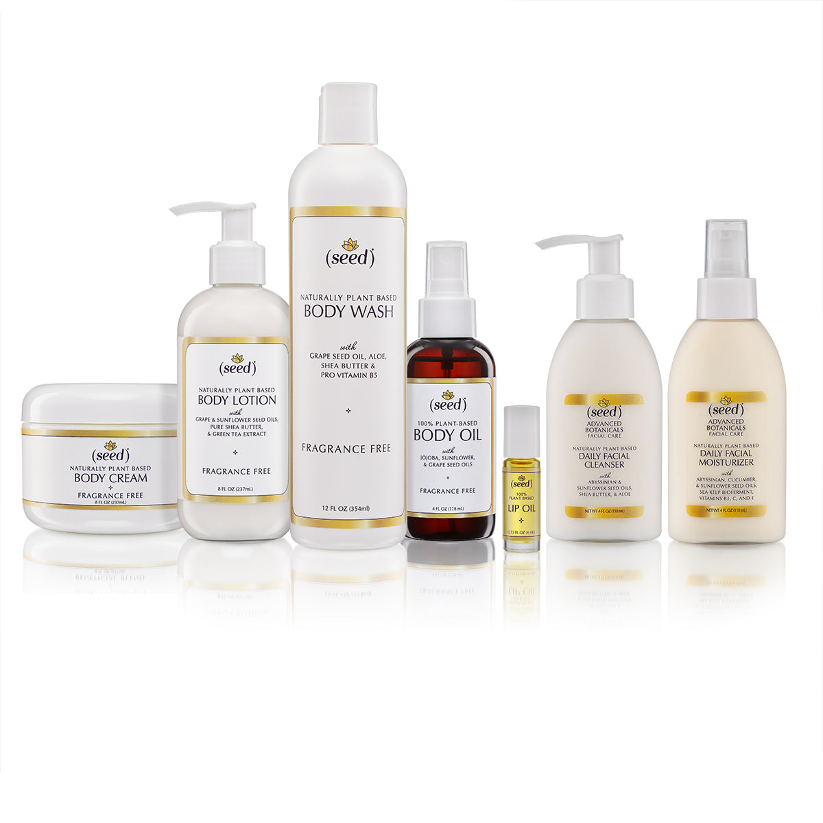Seed Fragrance Free Face and Body Care skin care collection