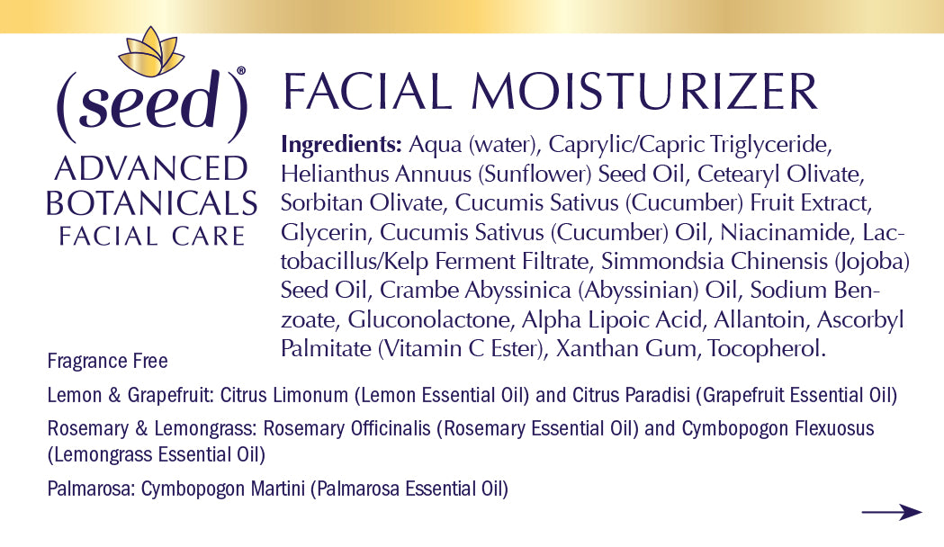 Seed Advanced Botanicals Daily Facial Moisturizer Ingredients