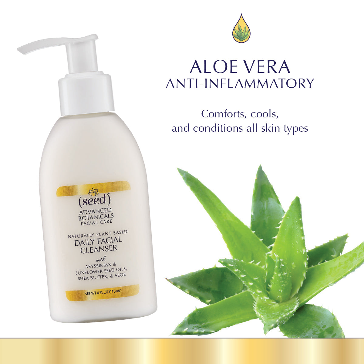 Seed Advanced Botanicals Facial Cleanser Wash features aloe vera