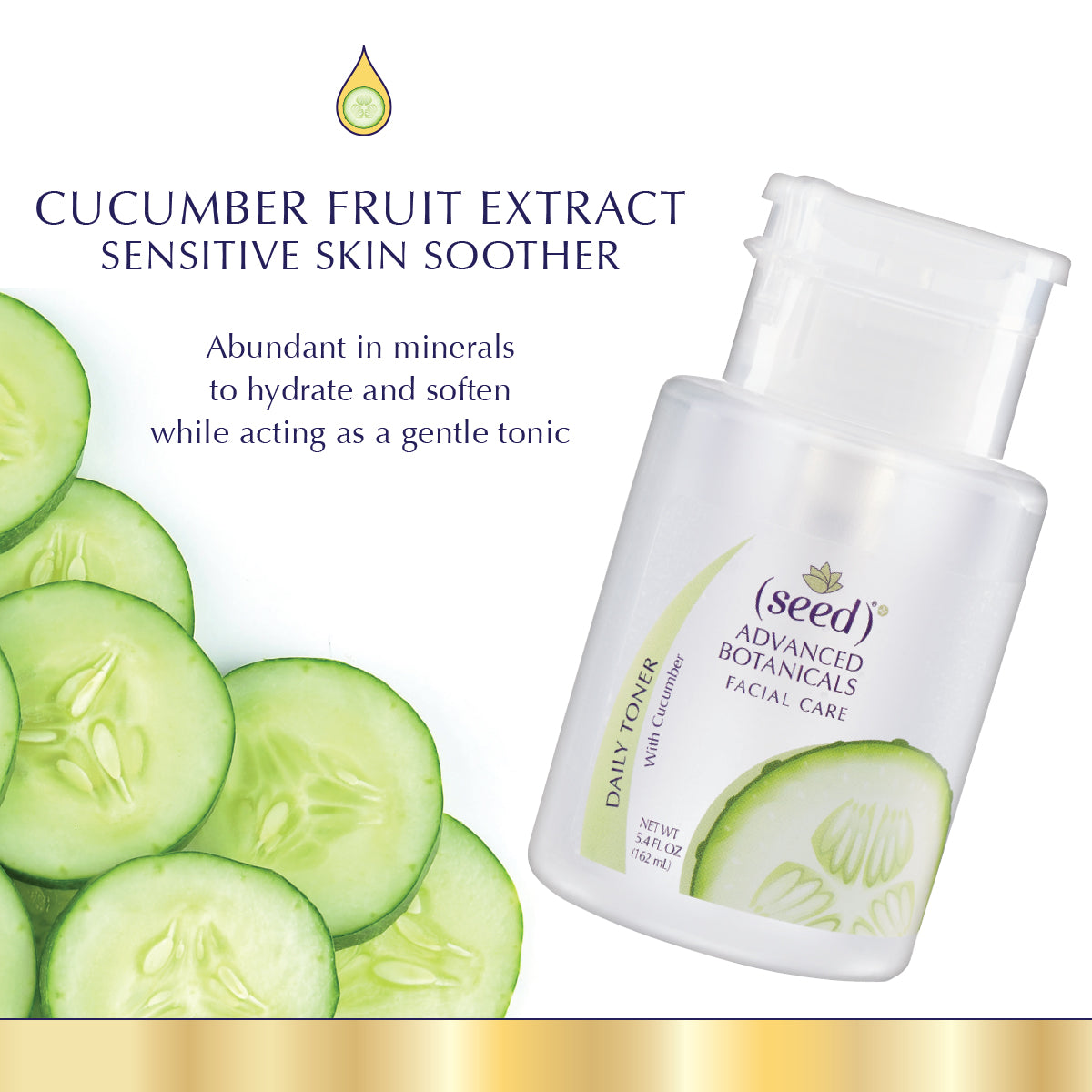 Seed Advanced Botanical Cucumber Face Toner features Cucumber Fruit Extract