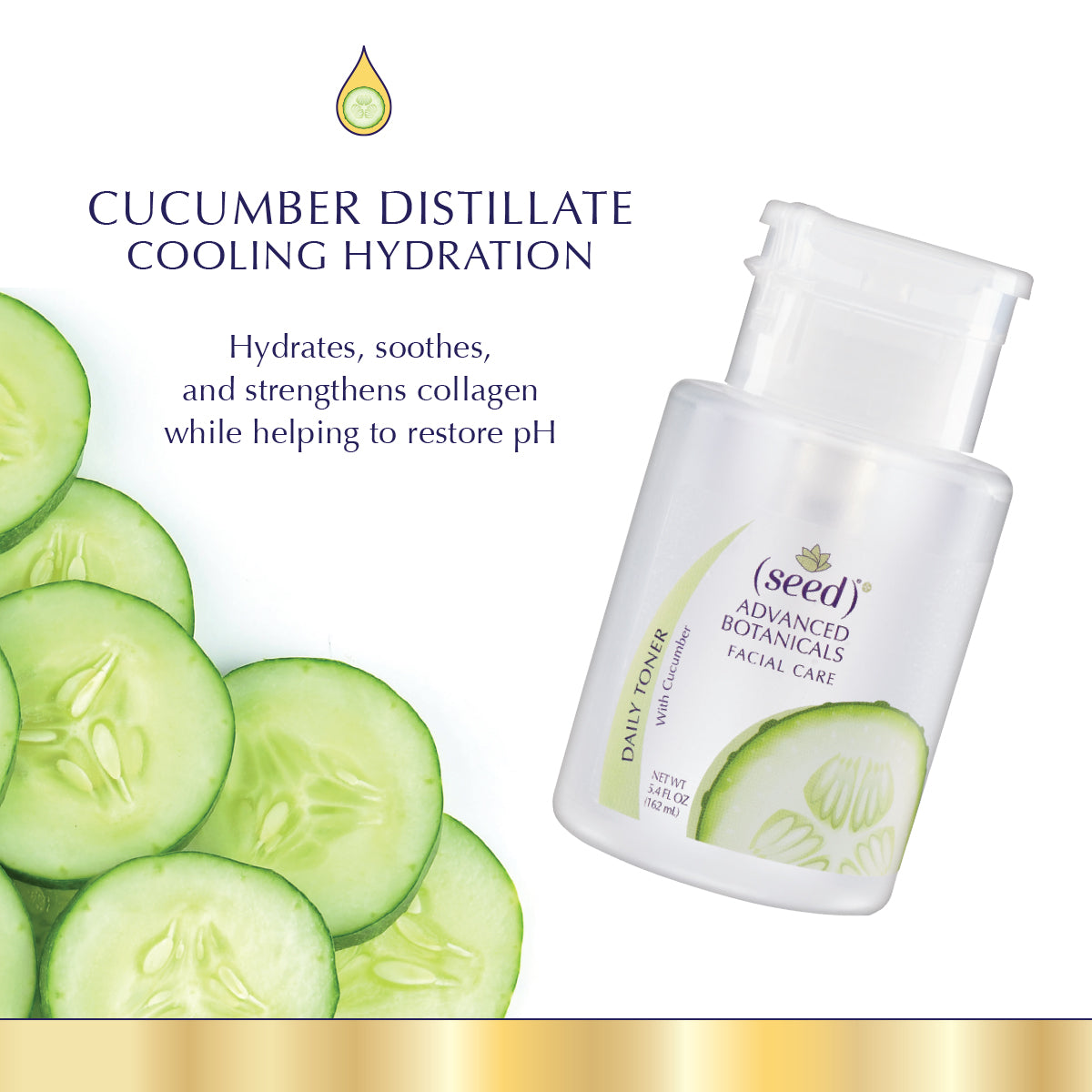 Seed Advanced Botanicals Cucumber Facial Toner features pure Cucumber distillate