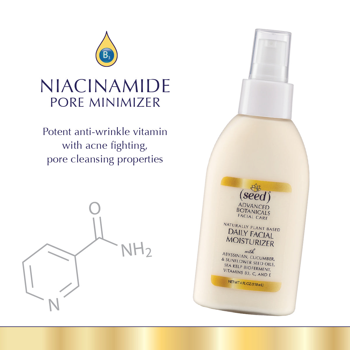 Seed Advanced Botanicals Daily Facial Moisturizing Lotion features Niacinamide