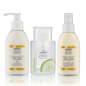 Seed Advanced Botanicals Facial Care Regimen, cleanser, toner, and moisturizer