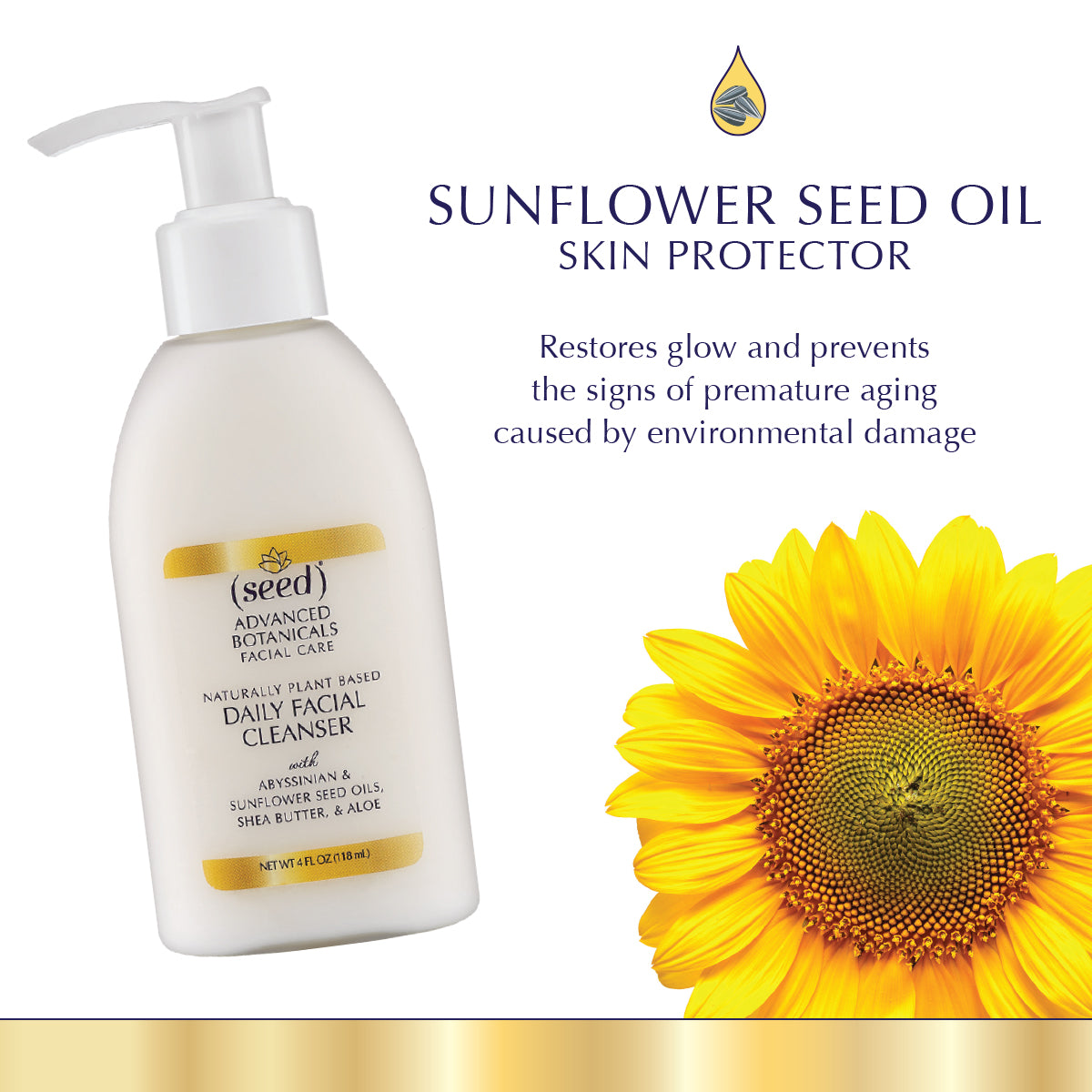 Seed Advanced Botanicals Facial Cleanser Wash features sunflower seed oil