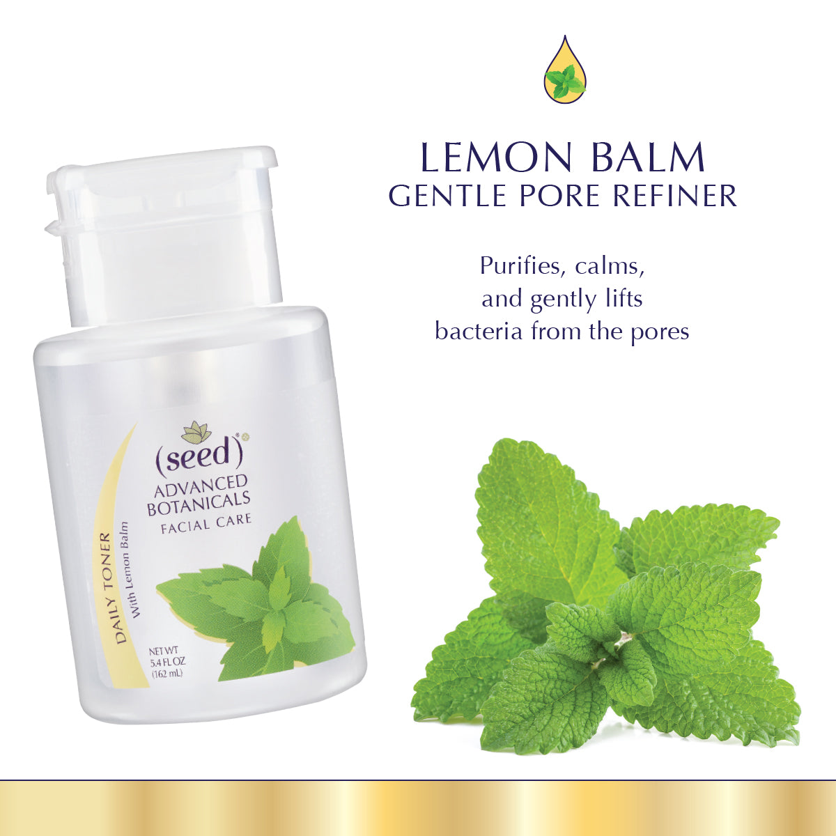 Seed Advanced Botanicals Lemon Balm Face Toner features Pure Lemon Balm Distillate