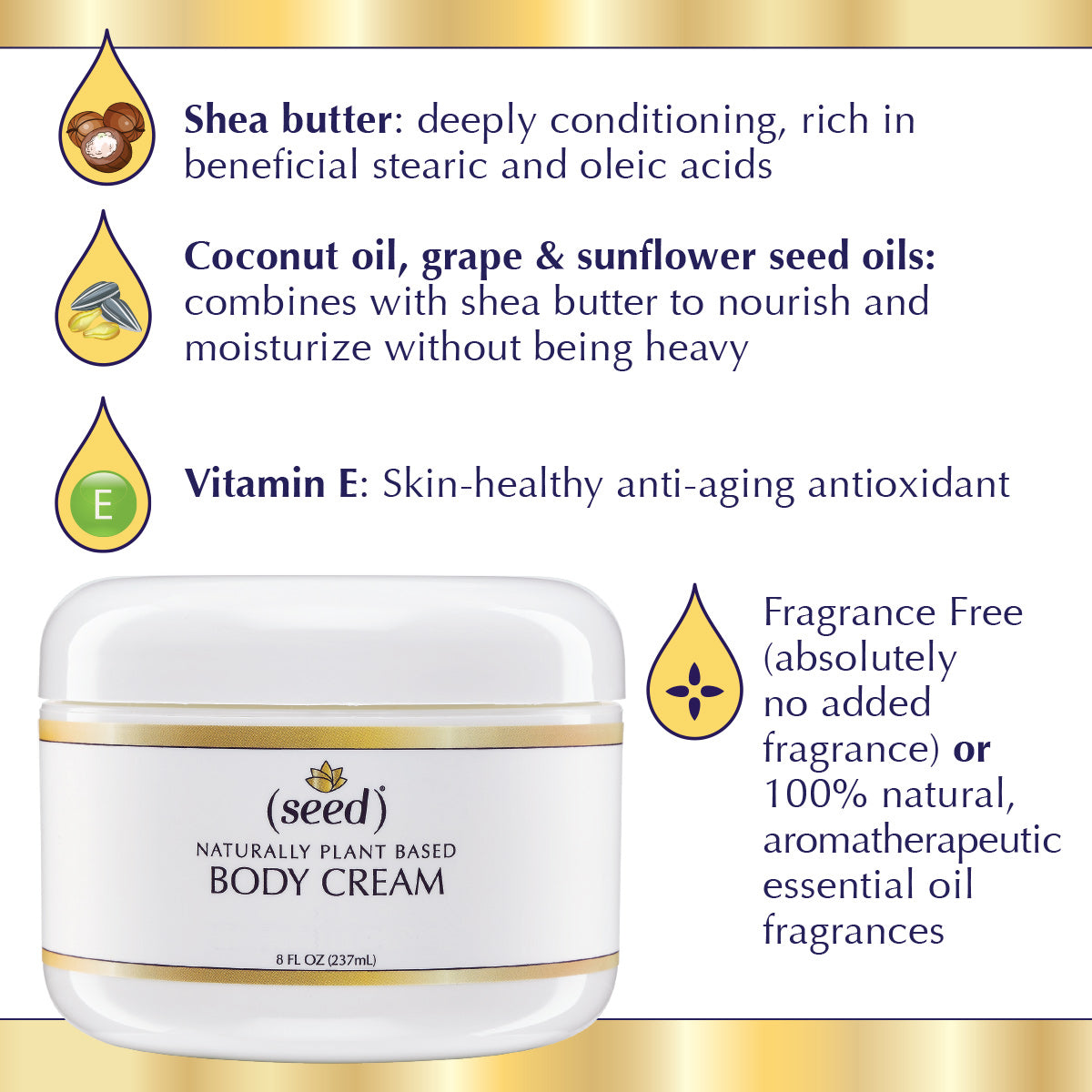 Seed Rich Silky Body Cream features shea butter, coconut oil, grape, sunflower seed oil
