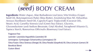 Seed Body Cream ingredients