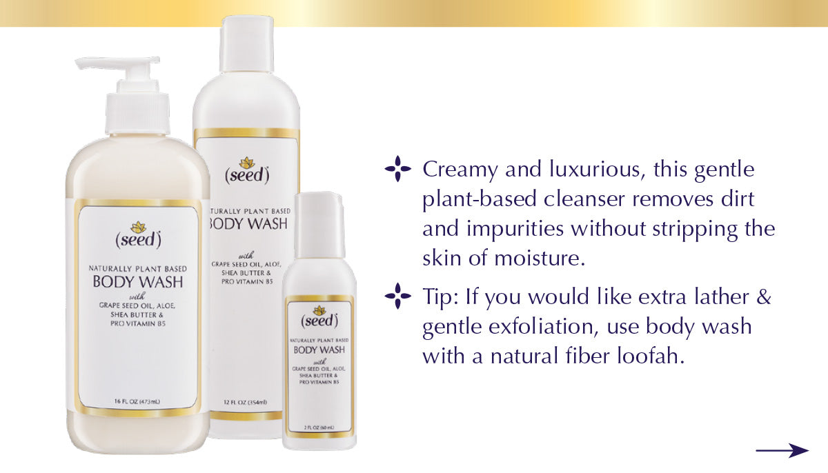 Seed Body Wash features benefit tip