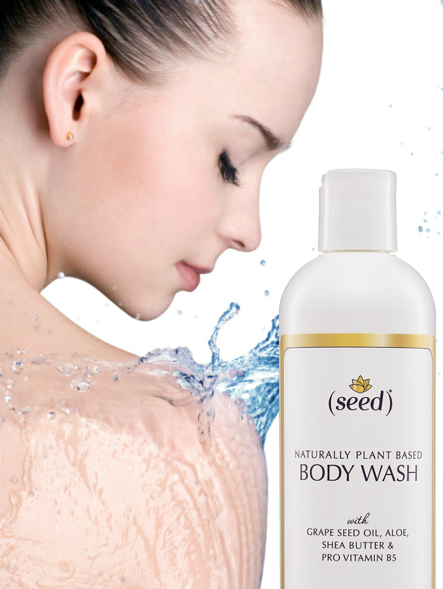 Seed Body Wash features grape seed oil, aloe, shea butter, and provitamin b5