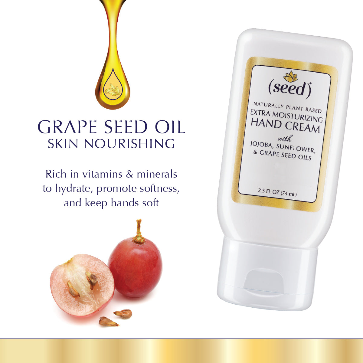 Seed Extra Moisturizing Hand Cream is enriched with grape seed oil
