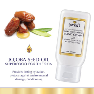 Seed Custom Blend Extra Moisturizing Hand Cream features jojoba seed oil and your selected essential oils