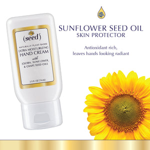 Seed Custom Blend Extra Moisturizing Hand Cream features sunflower seed oil and your selected essential oils