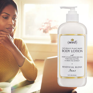 Focus Blend Body Lotion features essential oils of rosemary, peppermint, and lemon