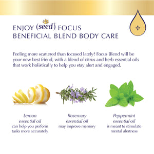 Seed Focus Blend Body Care with lemon, rosemary, and peppermint essential oils