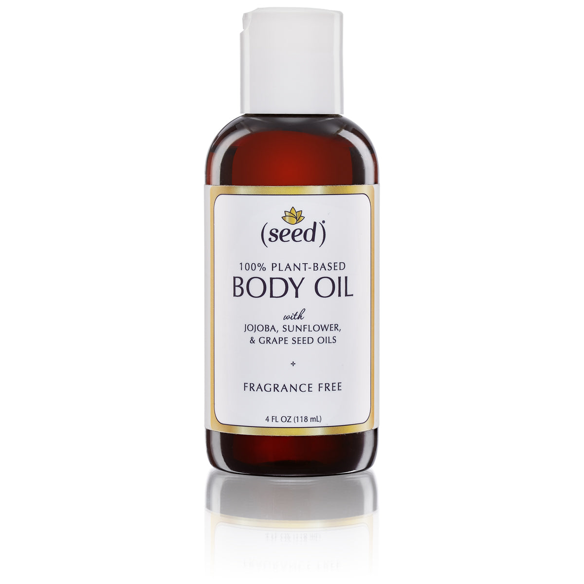 Seed Fragrance Free Body Oil is also available in a dispenser disc cap (in addition to our spray mist)
