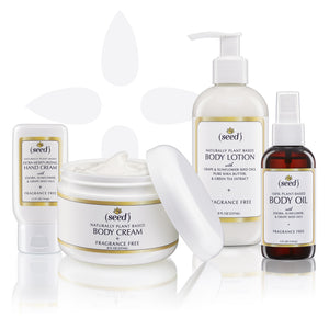 Seed Fragrance Free Deluxe Set with Hand Cream, Body Cream, Body Lotion and Body Oil