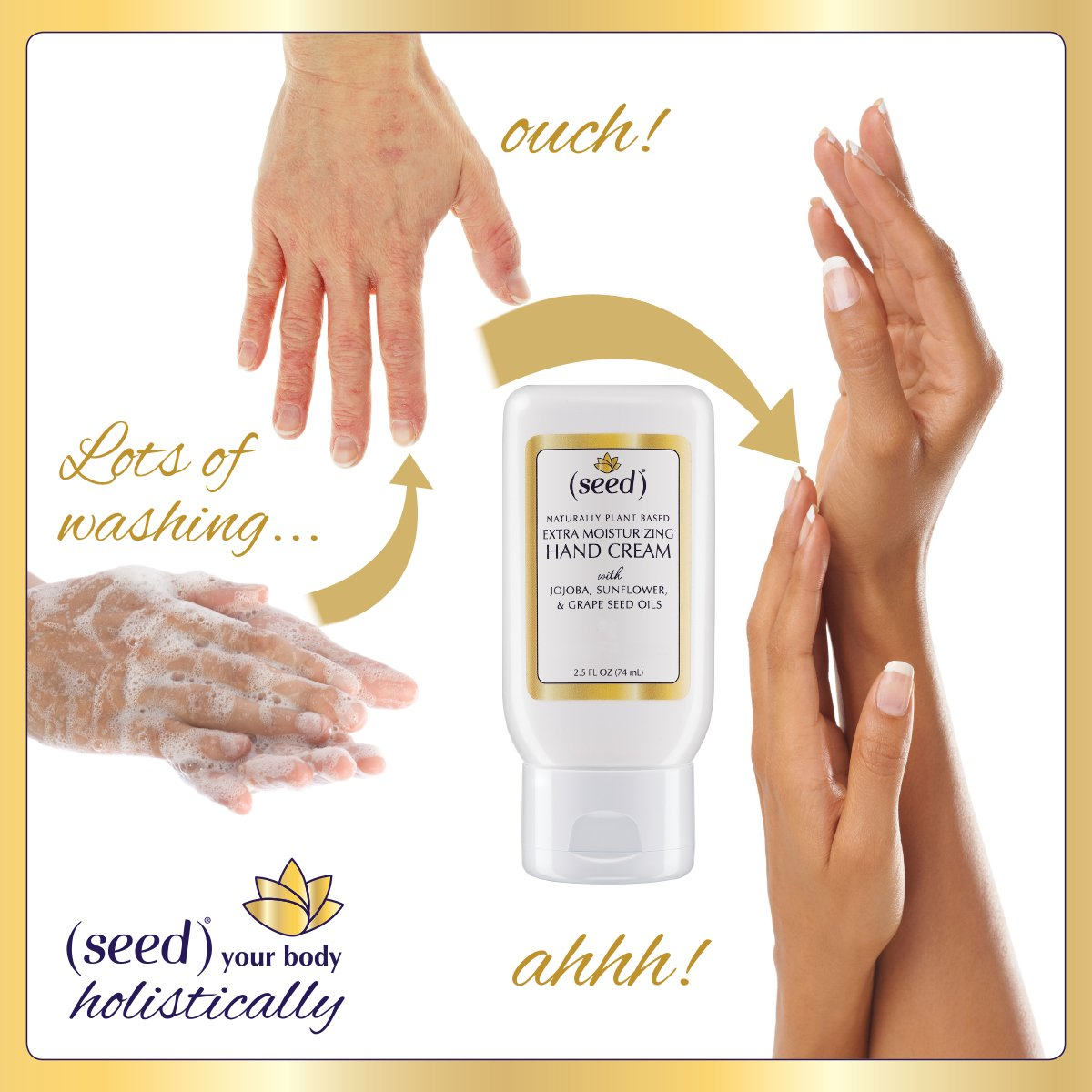 Seed Hand Cream soothes and softens frequently washed hands