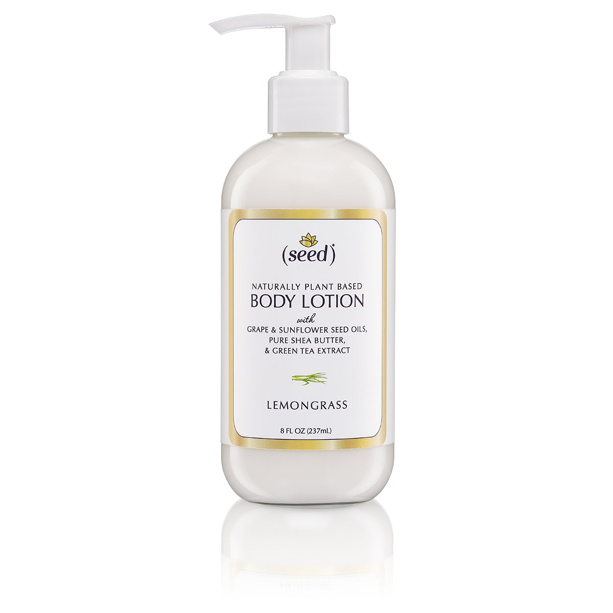 Seed Lemongrass Body Lotion with Grape and Sunflower Seed Oils, Shea Butter and Green Tea Extract, Lemongrass Essential Oil